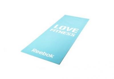 Тренировочный коврик (мат) для фитнеса тонкий Love (голубой) Арт. RAMT-11024BLL