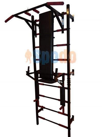 Шведская стенка металлическая с турником брусьями + стойка для пресса и штанги + скамья для жима/пресса Spodo classic PRO4 (разборная)
